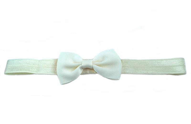 Leuk cremekleurig elastische baby haarbandje met een creme kleurig strikje erop. Heeft zonder uit te rekken een omtrek van ongeveer 36 centimeter.