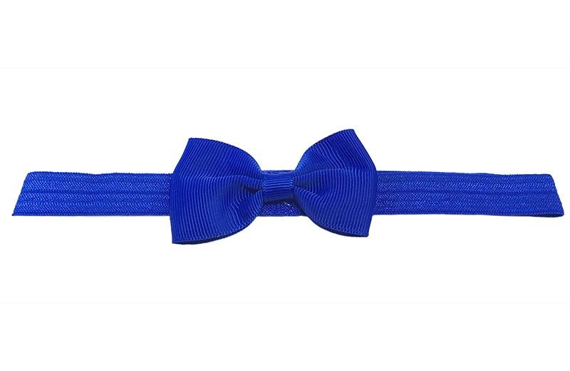 Leuk kobalt blauw elastische baby haarbandje met een kobalt blauw strikje erop. Heeft zonder uit te rekken een omtrek van ongeveer 36 centimeter.