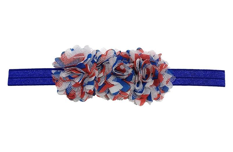 Vrolijk blauw baby peuter haarbandje met rood wit en blauwe bloemetjes.   Van rekbaar elastiek, geschikt tot ongeveer 2 jaar. Met 3 vrolijke chiffon bloemetjes met rood, wit, blauw zigzagstreepjes.