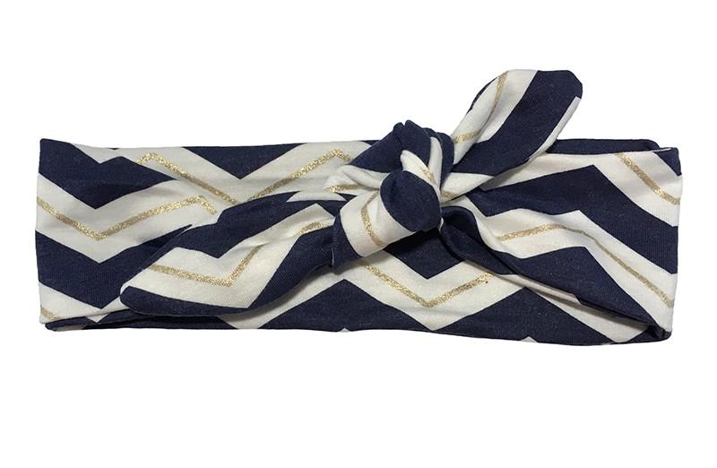 Vrolijk donkerblauw, wit en goud baby peuter kleuter haarbandje. Met leuke zigzag strepen.  Van zachte rekbare stof. Dit haarbandje is makkelijk zelf te knopen, daardoor kun je lang plezier hebben van dit leuke haarbandje.  Het haarbandje is ongeveer 5 centimeter breed.