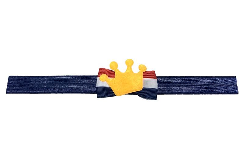 Leuk donkerblauw baby, peuter haarbandje met een rood, wit, blauw vlaggetje en een oranje kroontje.  Het haarbandje is van rekbaar elastiek, geschikt tot en met ongeveer 3 jaar.