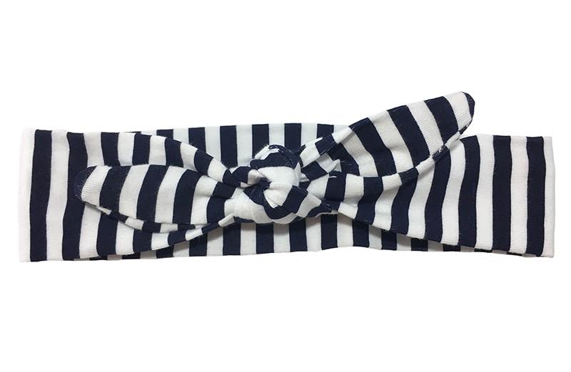 Vrolijk stoffen baby, peuter, kleuter haarbandje donkerblauw met wit gestreept.  Het haarbandje is van zachte rekbare stof en makkelijk zelf te knopen. Zo kun je langplezier hebben van dit leuke haarbandje.