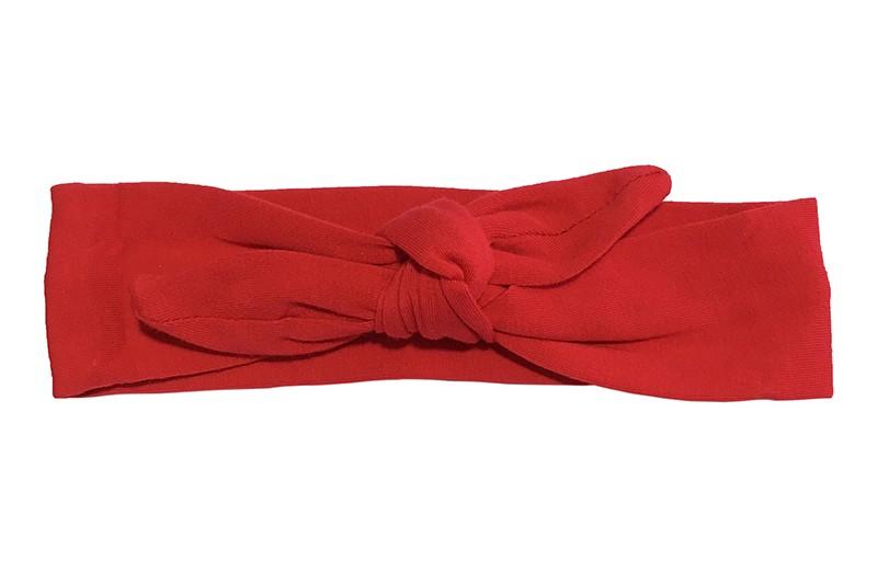 Vrolijk stoffen baby, peuter, kleuter haarbandje effen rood.  Het haarbandje is van zachte rekbare stof en makkelijk zelf te knopen. Zo kun je lang plezier hebben van dit leuke haarbandje.