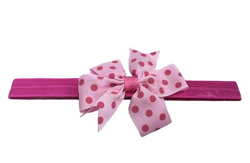 Vrolijk gel roze baby peuter haarbandje. Met een licht roze strik met roze stippeltjes. Heeft zonder uit te rekken een omtrek van 35 centimeter.