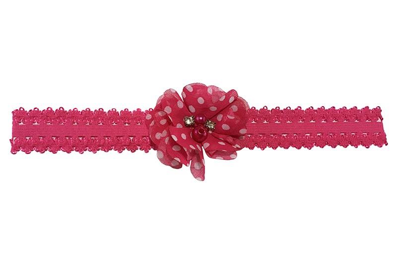 Vrolijk fuchsia roze peuter, kleuter meisjes haarbandje in kantlook.  Met een fuchsia roze chiffon bloemetje met witte stippeltjes en 4 verschillende pareltjes.  Het haarbandje is van goed rekbaar elastiek, daardoor geschikt tot en met ongeveer 6 jaar.
