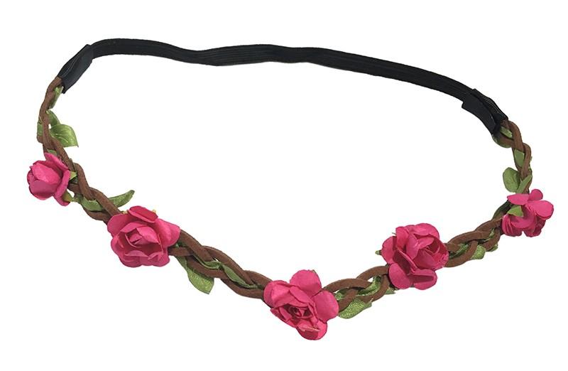 Vrolijk bruin gevlochten meisjes haarbandje met elastiek deel (het elastiek is, niet uitgerekt, 18 centimeter). Afgewerkt met groen lintje erdoorheen gevlochten en kleine fuchsia roze bloemetjes.