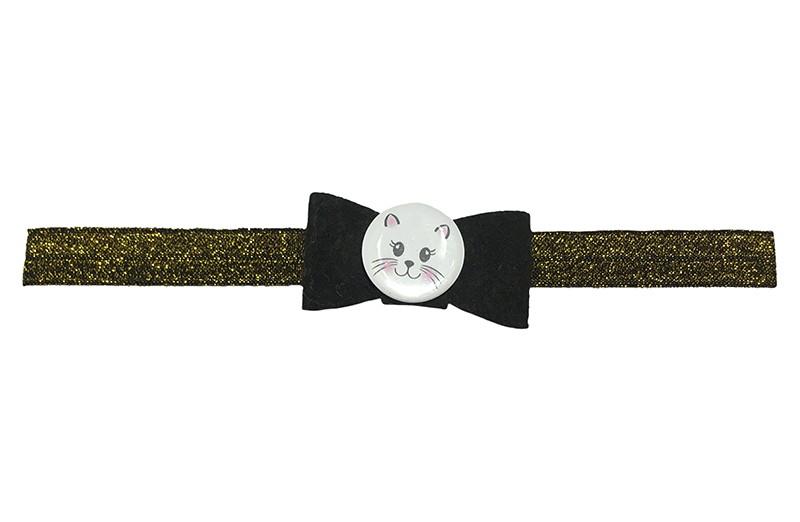 Vrolijk goud glitter baby peuter haarbandje.  Met een dun zwart vilten strikje en een leuke button met poezenkopje.  Het haarbandje is van ffijn rekbaar elastiek. Geschikt tot en met ongeveer 2.5 jaar.