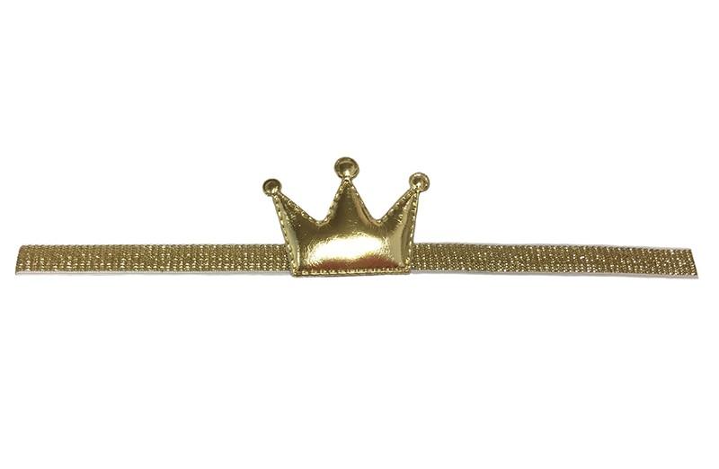 Schattig gouden baby, peuter haarbandje met een glanzend gouden kroontje. Het haarbandje is zonder uit te rekken ongeveer 19 centimer. Het bandje is ongeveer 1 centimeter breed.  Het kroontje is ongeveer 4 centimeter.
