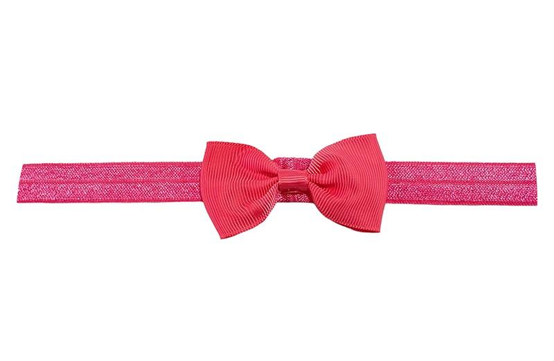 Leuk fel roze elastische baby peuter kleuter haarbandje. Met een koraalroze strikje erop.  Heeft zonder uit te rekken een omtrek van ongeveer 35 centimeter. Geschikt tot en met ongeveer 5 jaar.