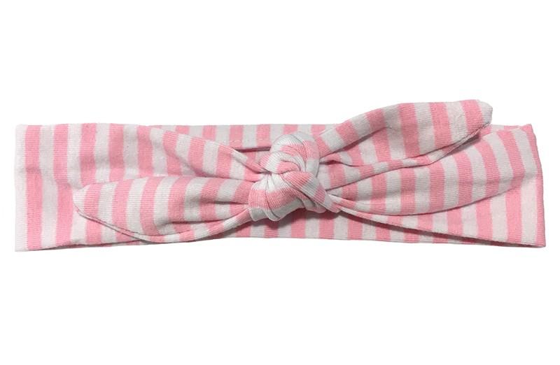 Vrolijk stoffen baby, peuter, kleuter haarbandje licht roze en wit gestreept.  Het haarbandje is van zachte rekbare stof en makkelijk zelf te knopen. Zo kun je langplezier hebben van dit leuke haarbandje.