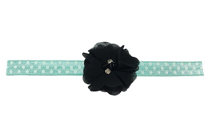Vrolijk mint groen peuter meisjes haarbandje met witte stippels.  Met een zwarte chiffon bloem met 4 verschillende pareltjes.  Het haarbandje heeft een fijne rek, geschikt voor meisjes van ongeveer 18 maanden - 4 jaar.