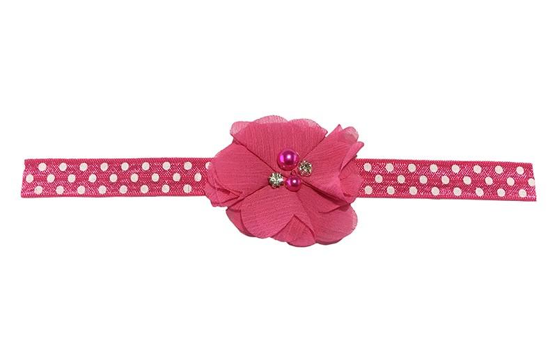 Vrolijk roze peuter meisjes haarbandje met witte stippels.  Met een vrolijke fuchsia roze chiffon bloem met 4 verschillende pareltjes.  Het haarbandje heeft een fijne rek, geschikt voor meisjes van ongeveer 18 maanden - 4 jaar.