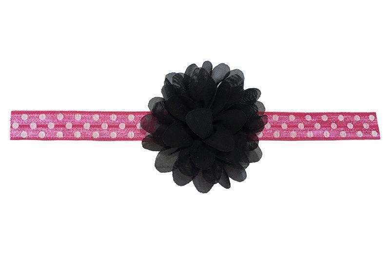 Vrolijk roze peuter meisjes haarbandje met witte stippels.  Met een zwart chiffon bloemetje. Het haarbandje heeft een fijne rek, geschikt voor meisjes van ongeveer 18 maanden - 4 jaar.