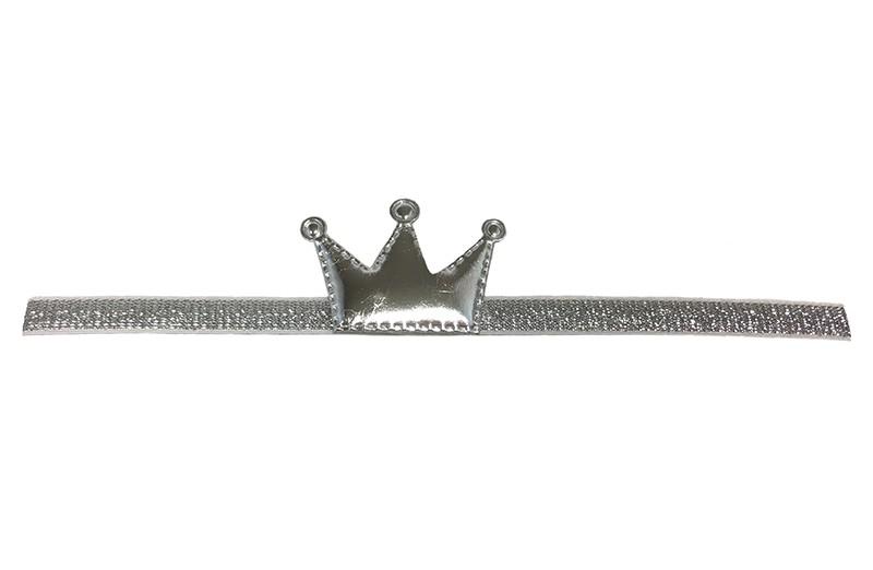Schattig zilveren baby, peuter haarbandje met een glanzend zilveren kroontje. Het haarbandje is zonder uit te rekken ongeveer 19 centimer. Het bandje is ongeveer 1 centimeter breed.  Het kroontje is ongeveer 4 centimeter.