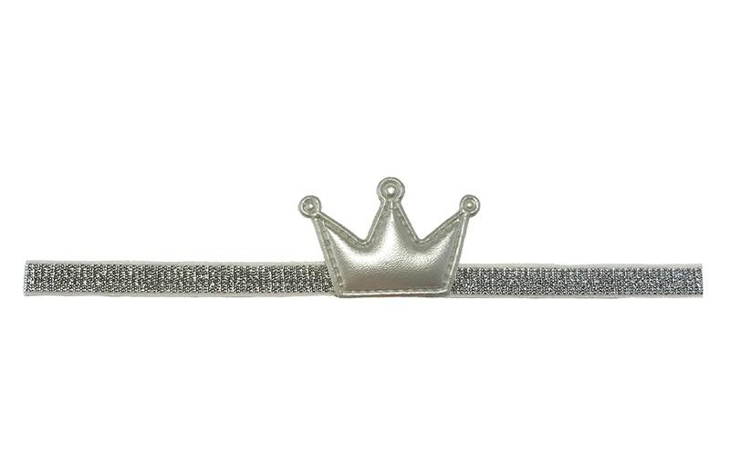 Schattig zilveren baby, peuter haarbandje met een mat zilveren kroontje. Het haarbandje is zonder uit te rekken ongeveer 19 centimer. Het bandje is ongeveer 1 centimeter breed.  Het kroontje is ongeveer 4 centimeter.