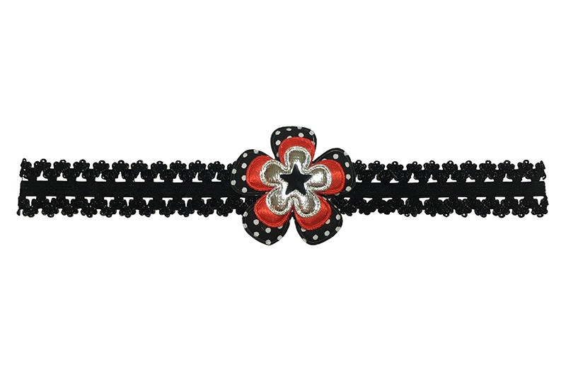 Leuk zwart baby peuter haarbandje in kantlook.  Met een zwart met wit gestippeld bloemetje, een effen rood bloemetje, een glanzend zilver bloemetje en een klein zwart sterretje. Het haarbandje is van goed rekbaar elastiek.  Niet uitgerekt is het haarbandje ongeveer 18.5 centimeter.