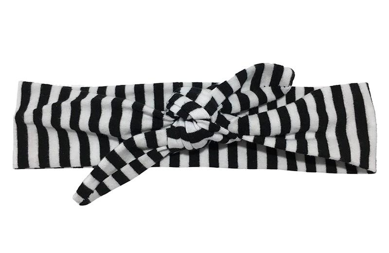 Vrolijk stoffen baby, peuter, kleuter haarbandje zwart en wit gestreept.  Het haarbandje is van zachte rekbare stof en makkelijk zelf te knopen. Zo kun je langplezier hebben van dit leuke haarbandje.