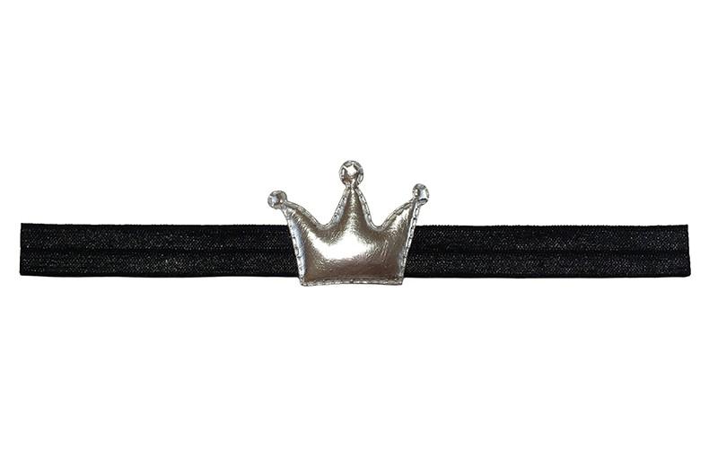 Vrolijk zwart baby peuter haarbandje.   Met een glanzend zilver leerlook kroontje.  Het haarbandje is van goed rekbaar elastiek. Geschikt tot ongeveer 3 jaar.