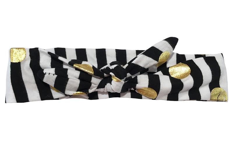 Vrolijk stoffen baby, peuter, kleuter haarbandje zwart en wit gestreept met glanzend gouden stippen Het haarbandje is van zachte rekbare stof en makkelijk zelf te knopen. Zo kun je lang plezier hebben van dit leuke haarbandje.