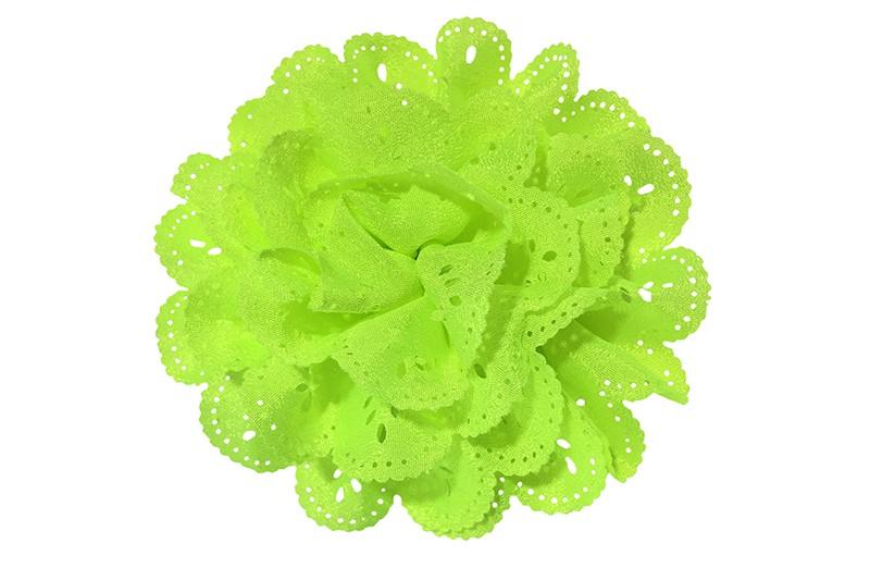 Vrolijke (neon) fel gele stoffen haarbloem in kantlook.  In een leuke laagjeslook.  Op een handig alligator knipje.