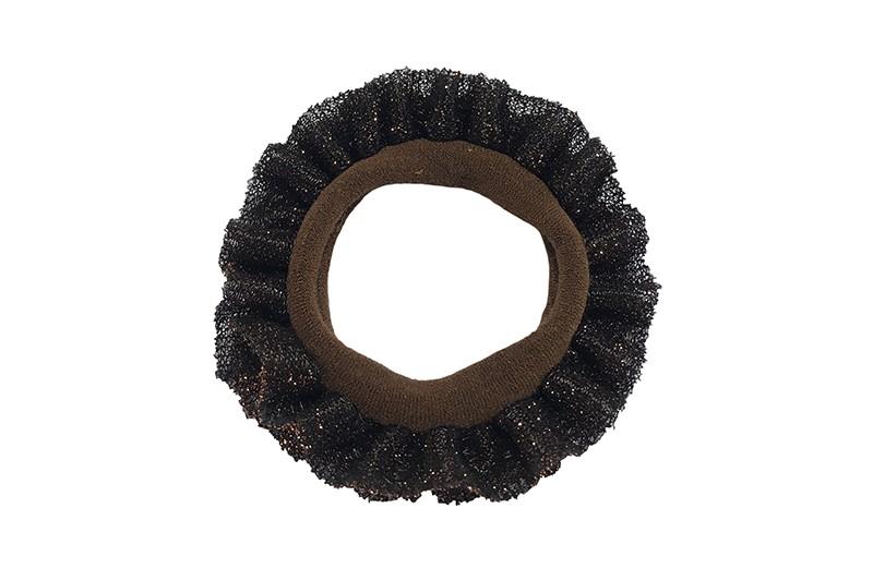 Leuke bruine peuter kleuter haarelastiek. Met koperbruin glitter stof.
