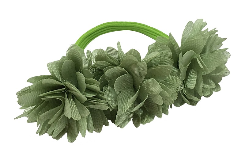 Schattige licht groene haarelastiek/knotbandje met 3 groene chiffon bloemen. Leuk in de haartjes van de meiden bij een leuk vrolijk knotje bijvoorbeeld.  Het licht groene elastiekje heeft een doorsnee van ongeveer 5.5 centimeter.