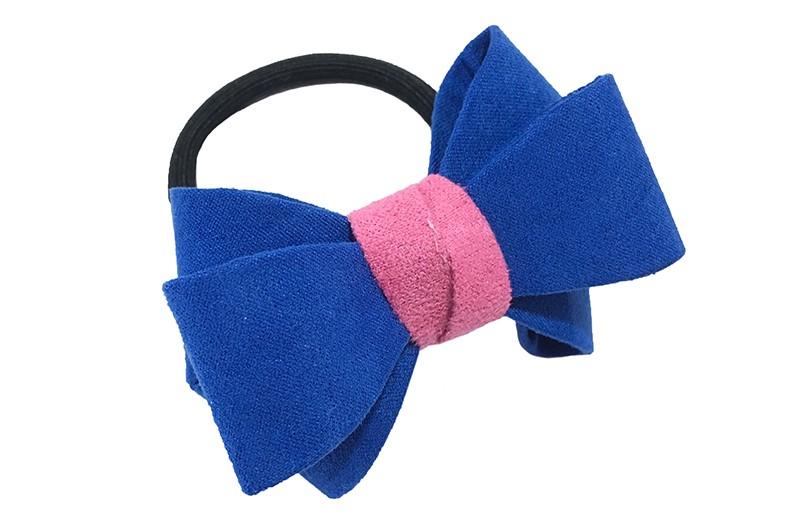 Mooie luxe kobalt blauwe haar elastiek met roze accent. Dubbel gestrikt van verstevigde stof. Leuk voor de iets grotere meisjes.