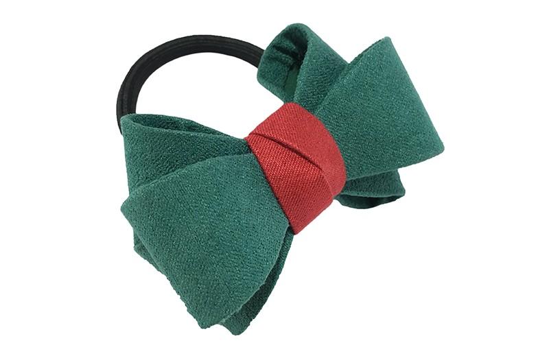 Mooie luxe groene haar elastiek met rood accent. Dubbel gestrikt van verstevigde stof. Leuk voor de iets grotere meisjes.