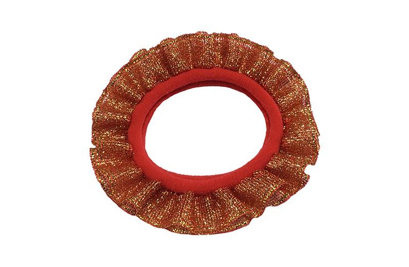 Vrolijke rode peuter kleuter haarelastiek. Met oranjegoud glitter lint.