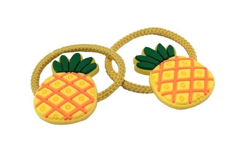 Vrolijk setje van 2 gele peuter kleuter meisjes haarelastiekjes.  Met op elk een vrolijk ananas figuurtje.