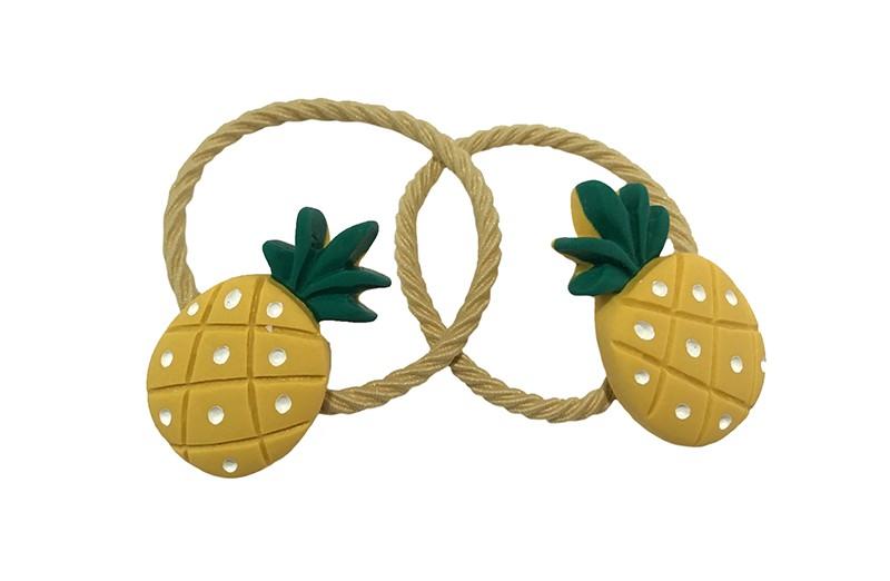 Vrolijk setje van 2 zacht gele peuter, kleuter, meisjes haarelastiekjes.  Met op elk een geel met groen ananas steentje.