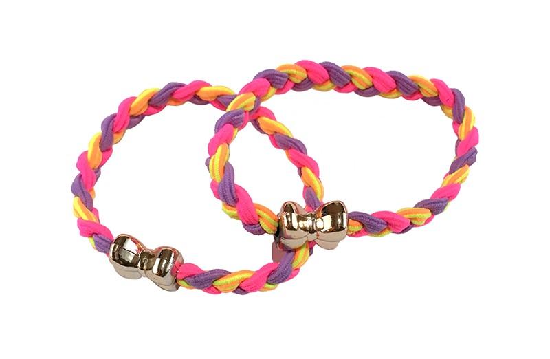 Vrolijk setje van 2 gevlochten haarelastiekjes.  In verschillende felle kleurtjes lila, geel en roze.  Met een goudkleurig strikje.