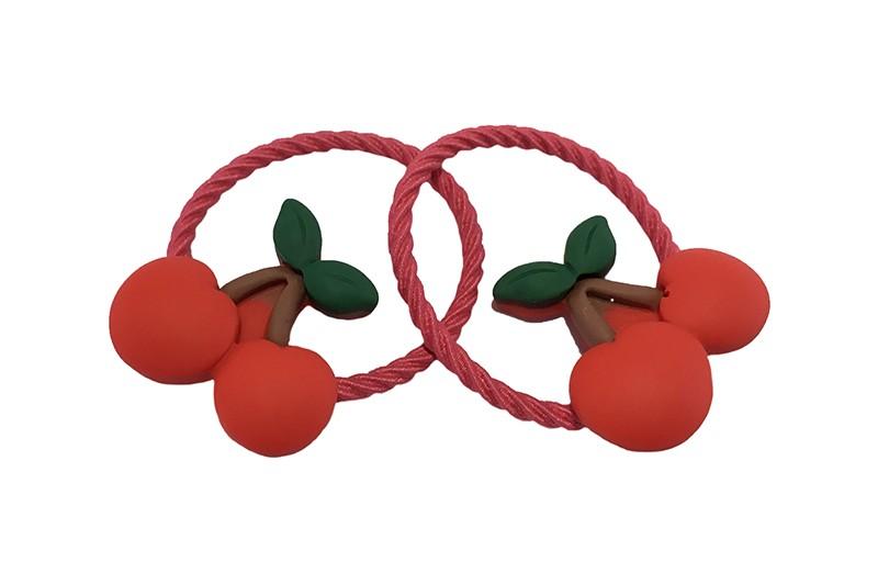 Vrolijk setje van 2 rode peuter, kleuter, meisjes haarelastiekjes.  Met op elk een steentje in de vorm van rode kersjes.