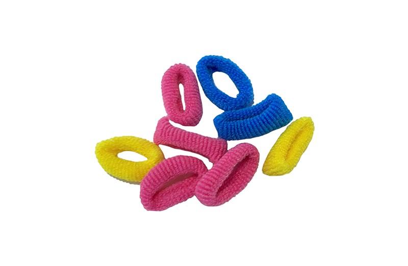 Handig setje van 8 kleine haarelastiekjes.  In de kleurtjes roze, geel en blauw.