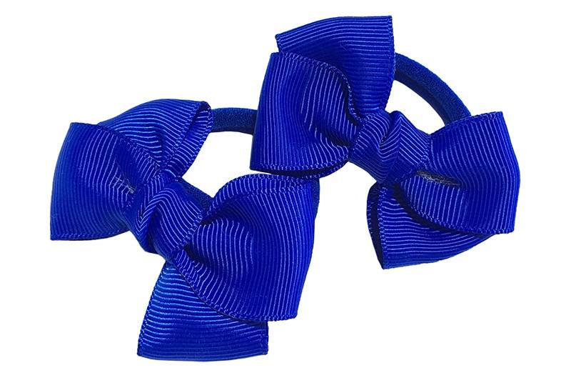 Vrolijk setje van 2 kobalt blauw zachte haarelastiekjes met op elk een leuk kobalt blauw strikje van lint