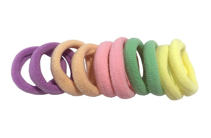 Leuk setje van 10 licht gekleurde zachte haar elastiekjes
