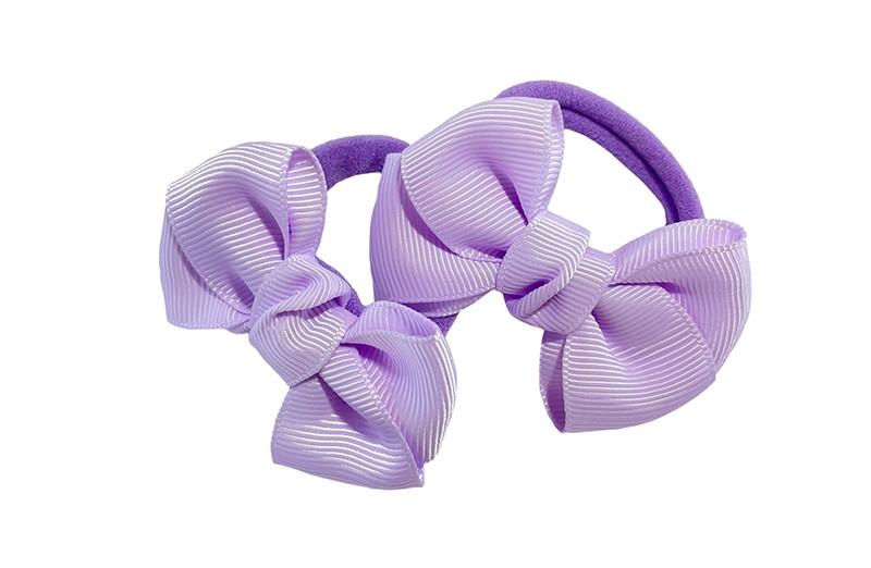Vrolijk setje van 2 paarse zachte haarelastiekjes met op elk een leuk lila paars strikje van lint