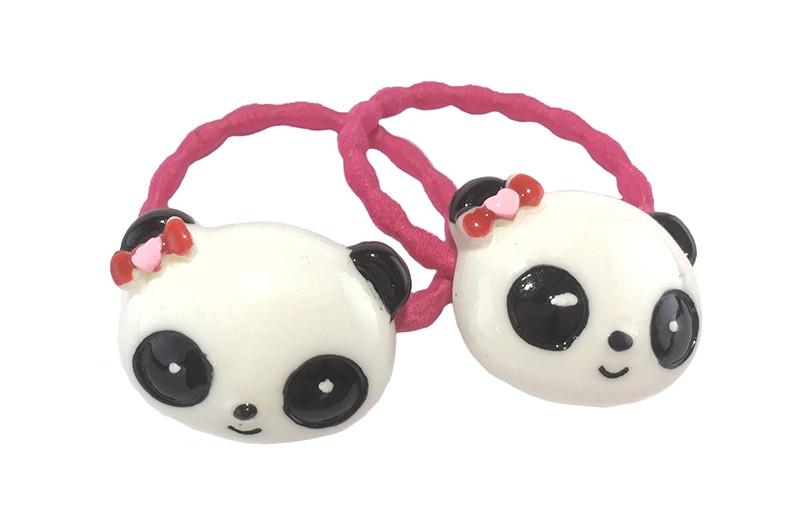 Schattig setje van 2 fuchsia roze haarelastiekjes met op elk een vrolijke steentje in de vorm van een panda kopje.