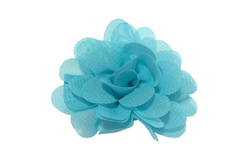 Leuke haarknip met fel blauwe chiffon bloem. De haarknip is bekleed met fel blauw lint. Vrolijk speldje voor kleine meisjes en grotere meisjes.