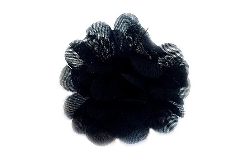Leuke haarknip met zwarte chiffon bloem. De haarknip is bekleed met zwart lint. Vrolijk speldje voor kleine meisjes en grotere meisjes.