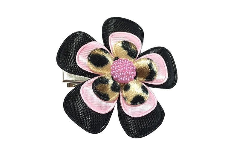 Vrolijke grote peuter kleuter haarknip!  Met een effen zwarte bloem, licht roze bloem en een bloem met luipaardprintje.  Afgewerkt met een leuke roze parel.