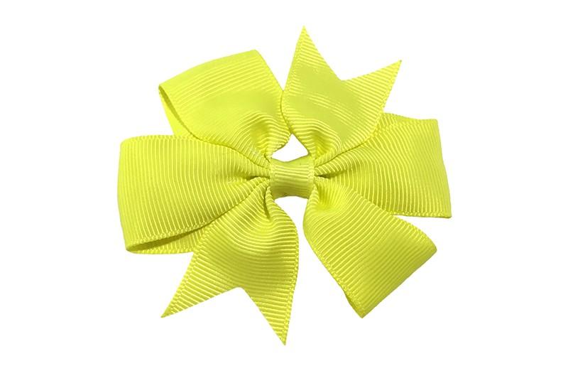 Mooi! Grote neon/ fel gele haarstrik op een alligator speldje makkelijk in het haar te zetten.