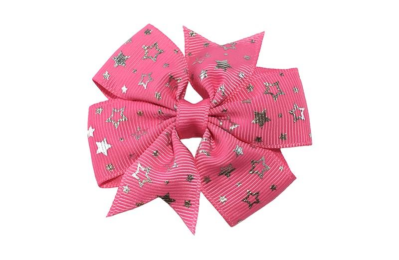 Mooi! Grote (fel) roze haarstrik met zilveren sterretjes.  Op een alligator speldje met tandjes, makkelijk in het haar te zetten.