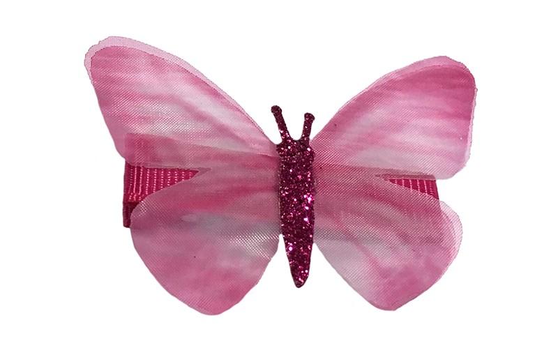 Vrolijk fuchsia roze peuter haarknipje met roze vlindertje. Het knipje is 3.5 centimeter en bekleed met fuchsia roze lint.