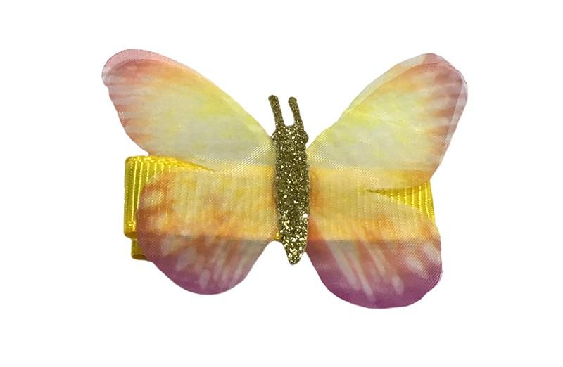 Vrolijk geel peuter haarknipje met geel vlindertje. Het knipje is 3.5 centimeter en bekleed met geel lint.