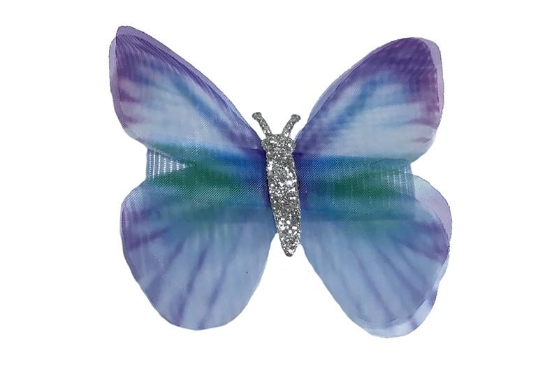Vrolijk lila paars peuter haarknipje met paars blauw vlindertje. Het knipje is 3.5 centimeter en bekleed met lila paars lint.