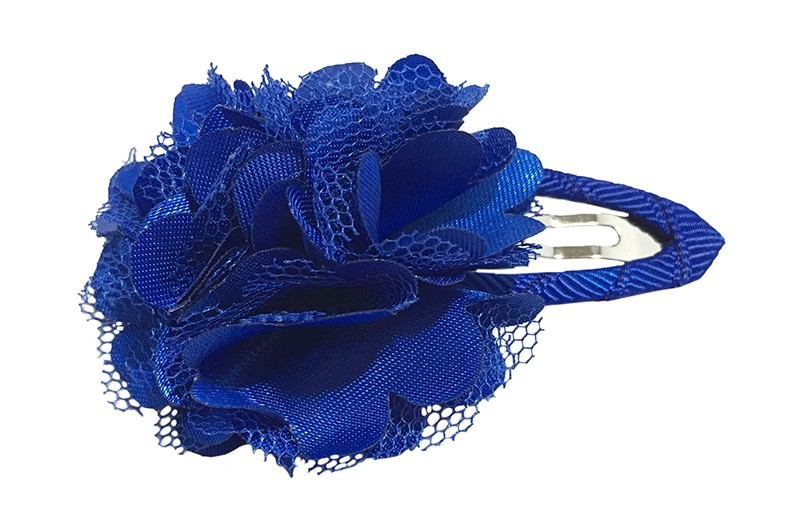 Schattige kobalt blauwe haarspeld bekleed met blauw lint.  Met een vrolijke blauwe laagjes bloem.