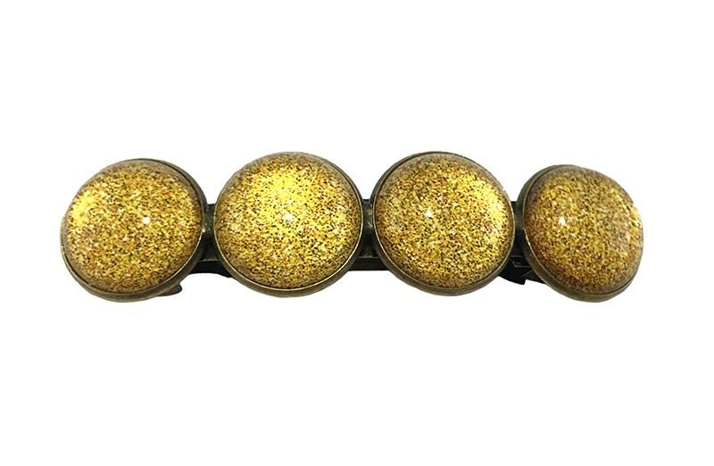 Vrolijke metalen meiden haarspeld. Met 4 glanzend gele 'glasknoopjes'  De speld is een gebogen klik haarspeld van 6.5 centimeter.