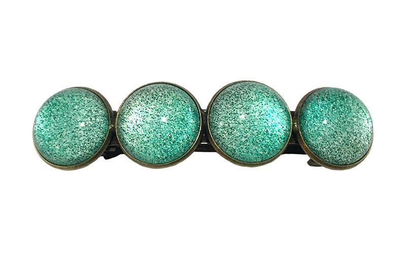 Vrolijke metalen meiden haarspeld. Met 4 glanzend zee groene 'glasknoopjes'  De speld is een gebogen klik haarspeld van 6.5 centimeter.