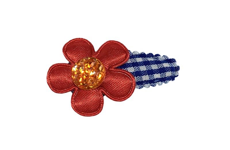 Hollands gekleurd! Vrolijk blauw wit geruit baby peuter haarspeldje.  Met een effen rood bloemetje en een oranje pareltje.